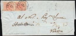1851 - 15 Cent. Rosso Vermiglio Chiaro, I Tipo, Carte A Coste Verticali (14a), Coppia, Perfetta, Su ... - Lombardo-Vénétie