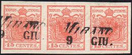 1851 - 15 Cent. Rosso Vermiglio, Carta Lievemente Costolata, Striscia Orizzontale Di Tre, Un Esempla... - Lombardo-Vénétie