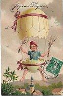 L100F058 - Joyeuses Pâques - Garçonnet Dans Oeuf Type Mongolfière - Carte Gauffrée - N°7488 Relief - N°7491 Brillant - Pasen