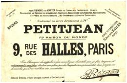"V F P/Buvard Vente De Fond ""Petitjean"" (Format 25 X 18.05) (N= 1) - Papel Secante"