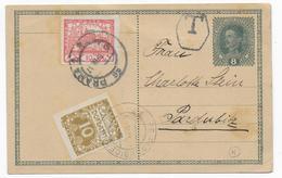 TCHECOSLOVAQUIE - 1919 - CARTE ENTIER D'AUTRICHE ! Avec COMPLEMENT HRADCANY De PARDUBICE + TAXE ! - Cartes Postales