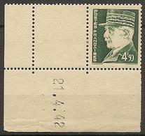CD 523  France Yvert Bloc De 1 Coins Datés 21/4/42 éffigie MARECHAL PETAIN  Type HOURRIEZ - 1940-1949