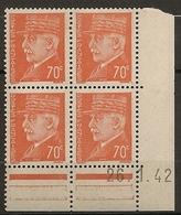 CD 511 France Yvert Coins Datés 26/1/42 éffigie MARECHAL PETAIN  Type HOURRIEZ - 1940-1949