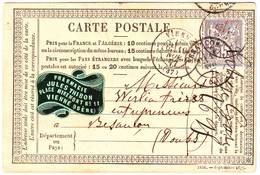 Etiquette Publicitaire Pharmacie Sur Carte Precurseur VIENNE Isere 1877 - Poststempel (Briefe)