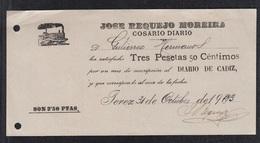 1903.- JEREZ (CÁDIZ). JOSE REQUEJO MOREIRA.  COSARIO DIARIO. - Storia Postale