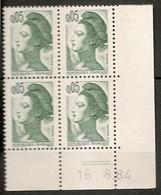 CD 2178 FRANCE 1984 COIN DATE  2178 Yvert N° 2178 Coin Daté 16/8/84 - 1980-1989