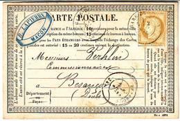 Etiquette Publicitaire LAPIERRE Distilateur Sur Carte Precurseur MACON  1876 - Poststempel (Briefe)