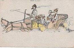 """L100F064 - Illustrateur Guillaume - """"Pendant La Grève"""" - Famille En Voiture Tirée Par Un Cheval. - C8 - Carte Précurseur - Guillaume"""