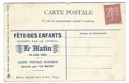 Semeuse 10c Perforée M - Journal Le Matin-Fête Des Enfants 19 Juin 1904 - Non Circulée - Voyage Préfet Loubet En Algérie - Perforés
