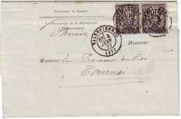 Paire 10 C Sage Sur Lettre De Valenciennes Nord à TOURNAI Belgique , TARIF FRONTALIER , TTB , 1877 - Poststempel (Briefe)