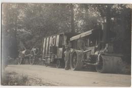 Rouleau Compresseur De La Maison Albaret, Roulotte Et Ouvriers Ambulants. Carte Postale Photographique NB - Cartes Postales