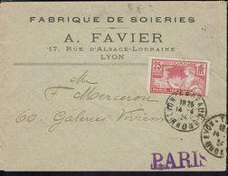 """Fr """"Fabrique De Soieries à Lyon"""" Timbre N° 184 Jeux Olympiques De Paris Seul Sur Enveloppe Pour Paris 14-4-1924 - B/TB - - Postmark Collection (Covers)"""