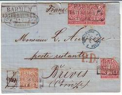 ALLEMAGNE Lettre De BARMEN 1869 Adressee En Poste Restante à BRIVE Correze - Poststempel (Briefe)