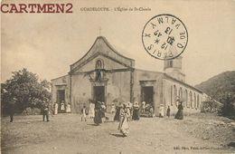 GUADELOUPE EGLISE DE SAINT-CLAUDE ANIMEE + TIMBRE AMERICAIN - Guadeloupe