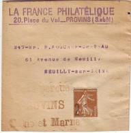 1c Semeuse Surchargee 2c .... PROVISOIRE DE PROVINS Seine Et Marne Sur Bande Complete - Storia Postale