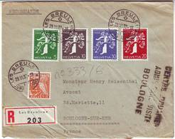 Lettre Recommandee De SUISSE Cachet CENTRE DOUANIER DE BOULOGNE ADMIS SANS VISITE 1939 - Poststempel (Briefe)