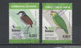 ECUADOR 2015 - BIRDS - LOT OF 2 DIFFERENT - POSTALLY USED OBLITERE GESTEMPELT USADO - Non Classés