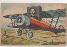 Dessin D'un Avion Biplan Et Photo D'un Enfant. Carte Postale En Couleurs. Edition Litho Limousine, Limoges - Enfants