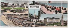 Cpsm Panoramique DEAUVILLE - Casino, Planches, Royal Hôtel, Plage Et Cabines (format 9 X 22,5 Cm) - Deauville