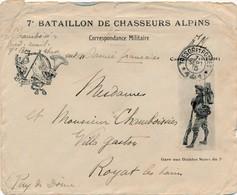 J62 - Marcophilie - 7e Bataillon De Chasseurs Alpins - FM - 1915 - Francia