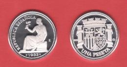 ESPAÑA II REPÚBLICA 1 PESETA 1.933  #3-4   PLATA / SILVER PROOF  SC/UNC  T-DL-12.332 - [ 2] 1931-1939 : République