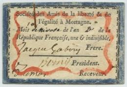 Révolution . Rare Carte De La Société Des Amis De La Liberté Et De L'égalité à Mortagne (ex-club Des Jacobins). 1793 . - Documents Historiques