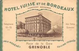 20-3199 : GRENOBLE. HOTEL SUISSE ET DE BORDEAUX. PLACE DE LA GARE. - Grenoble