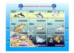 Tanzanie 1998-Dauphin,oiseaux,tortue,baleine,poisson -Année Intern Des Océans YT 2523/31*Feuillet***MNH - Meereswelt