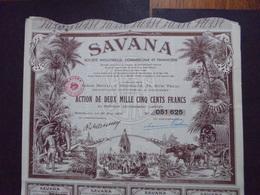 LOT DE 5 TITRES - SAVANA, STE INDUSTRIELLE COMMERCIALE ET FINANCIERE - ACTION DE 2000 FRS - BORDEAUX 1952, BELLE DECO - Actions & Titres