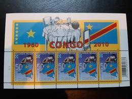 Feuillet De 5 Timbres Nsch (MNH) 50 Ans RD Congo N°4047, Lire Condition De Vente. - Foglietti