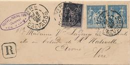 J62 - Marcophilie - Plis Recommandé Du 8 Décembre 1898 - Tribunal Du Calvados - 1876-1898 Sage (Type II)