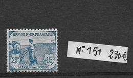 N 151 **  Neuf Orphelins De Guerre 15c+10c  Côte 230€ - France
