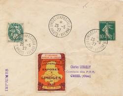 J62 - Marcophilie - LIMOGES 1927 - Exposition Industriels Commerçants Du 21 Mai Au 2 Juin - Poststempel (Briefe)
