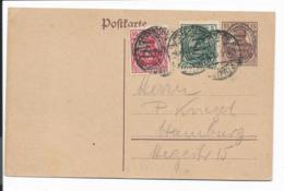 Deutsche Abstimmgebiete Allenstein P 7 - 15 Pf Germania M. 5+10 Pf Zusatzfrankatur O. Text Nach Hamburg Verwendet - Deutschland