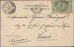 YT France 102 Sage X2 CAD Salonique Qtier Quartier Franc Turquie 20 Juin 01 Bureau Français à L'étranger Turquie Grèce - Levant (1885-1946)