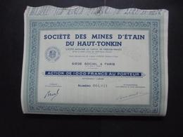 LOT DE 5 TITRES - STE DES MINES D'ETAIN DU HAUT-TONKIN - ACTION DE 1 000 FRS - PARIS - Shareholdings