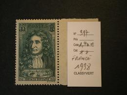 """FRANCE  * *  De 1938       """"    En L'honneur De Jean De La Fontaine    """"  N°  397          1 Val - Nuovi"""