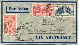INDOCHINE LETTRE PAR AVION DEPART HANOI A (QUI-NHAN) 4-8-39 POUR LA FRANCE - Indocina (1889-1945)