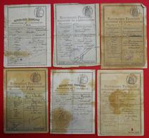 1888- 1912 Lot De 6 Permis De Chasse Département De L'Aude Fait à Narbonne Cachet Police - Documentos Históricos