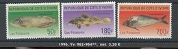 1999   Poissons. Fish. Yv 962/964 ** - Côte D'Ivoire (1960-...)