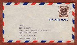 Luftpost, Posthorn, Bremen Nach San Jose Costa Rica 1954 (91653) - BRD