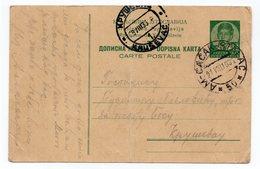 1939 YUGOSLAVIA,SERBIA,TPO 50 ČAČAK-STALAĆ,SENT TO KRUSEVAC,STATIONARY CARD,USED,FOLDED - Postwaardestukken