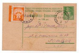 1948 YUGOSLAVIA,SLOVENIA,TPO 3 LJUBLJANA-BEOGRAD,0.50 DIN MISSING + 0.50 DIN PENALTY,1 DIN POSTAGE DUE,STAT. CARD,USED - Postal Stationery