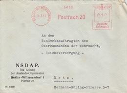 Lettre à Entête (NSDAP) Affr. Berlin-Wilmersdorf 1 EMA Francotype 5493 Postfach 20 à 12pf Le 14/3/42 Pour Metz - Allemagne