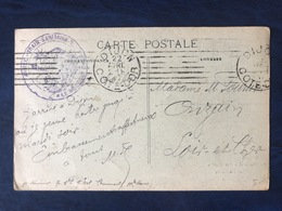 France WW1 - CP De Dijon  - Grand Cachet Violet ARMEE-TRAIN SANITAIRE LE MEDECIN CHEF - (B3155) - WW I