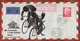 Beleg, Luebke, Fahrradrennen, 6-Tage-Rennen, Befoerdert Durch Rudi Altig, Bremen 1968 (91669) - Cartas