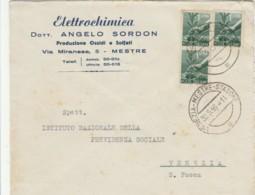 LETTERA 1946 3X1 TIMBRO VENEZIA MESTRE STAZIONE - ELETTROCHIMICA (TY953 - 1946-.. République