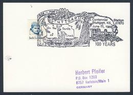 USA 1988 Card Karte Carte - Centennial Station Stuttgart, Kansas 1888-1988 / Bahnhof / Gare - Eisenbahnen