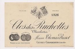 ETIQUETTE DE VIN   CLOS DES RUCHOTTES - CHAMBERTIN - (GEVREY CHAMBERTIN) - 1926 - - Bourgogne