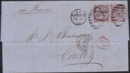 Great Britain  . Yvert  .   34 Paire On Letter  (2 Scans)      .  O  .   Cancelled      .   /  .   Gebruikt - 1840-1901 (Victoria)